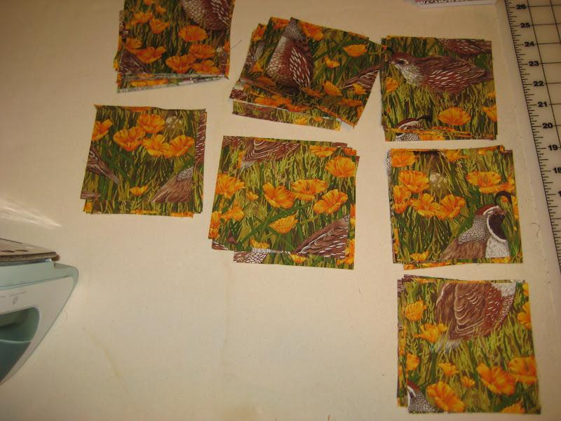 Now out of your ugly fabric (yes, mine is sweet quail fabric I got for free) cut out 66 4.5″x4.5″ squares.