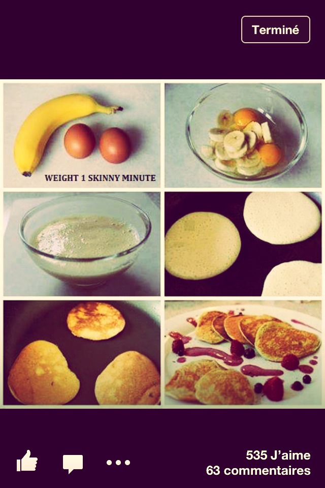Really simple! you take one banana and two eggs you mix those two ingredients in a bowl and you are ready to cook your pancakes!! you can add some fruits to your plate and it's ready to serve!! Voila!