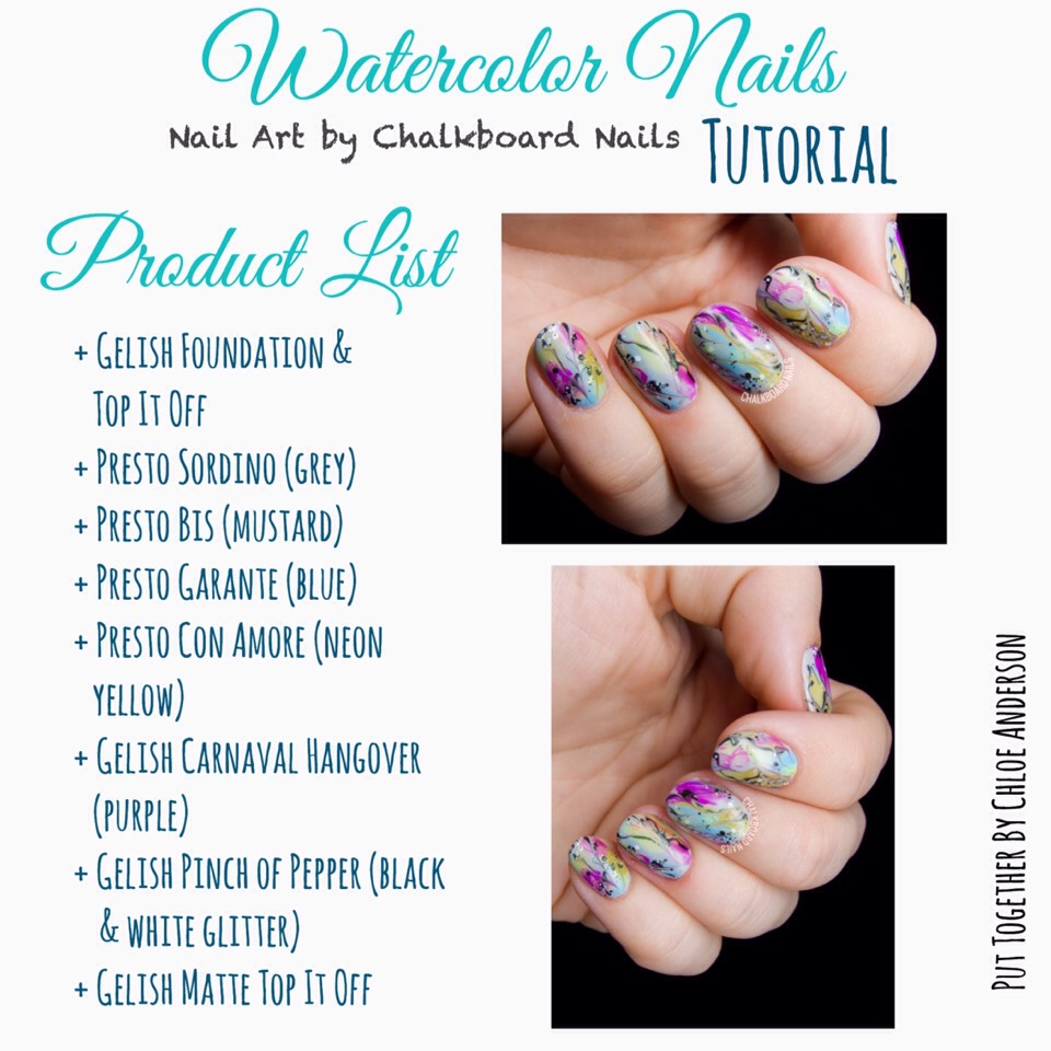 Chalkboard Nails' Watercolor Nail Art Tutorial can be found HERE |www.chalkboardnails.com/2016/06/watercolor-wash-with-splattered-accents.html?m=1