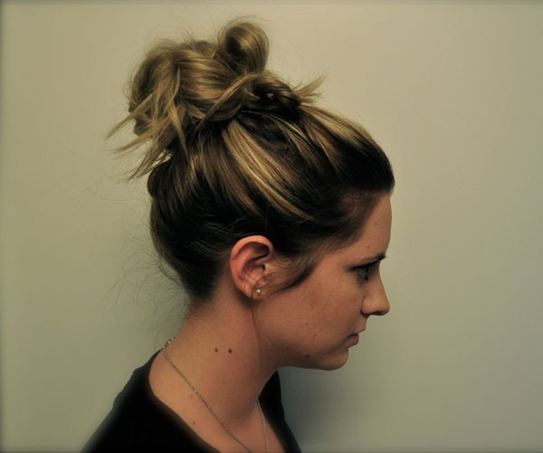 The messy bun this one is easy you basically tie up all you hair and then wrap the hair around the hair tie and tie up again or us bobby pins (you might want to add a bow or something to hide those ties or pins)