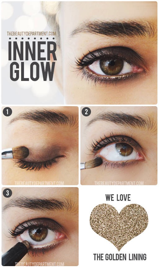 Sweep a black powder shadow across the lid. You can also include the crease but typically it will travel there over time on its own. Sweep the same shadow along your lower lashline.
