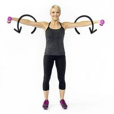 Weighted Arm Circles: Grab the lightest pair of dumbbells you own, cause this exercise is going to burn! Keep your arms as straight as you can for maximum results.
