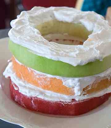 Pat honeydew dry and add to cake.