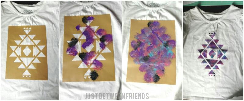 Materials: Vinyl, shirt, fabric paint, and stenciling brush