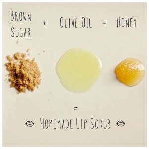 mix a teaspoon of brown sugar, olive oil, and honey for a homemade lip scrub💄