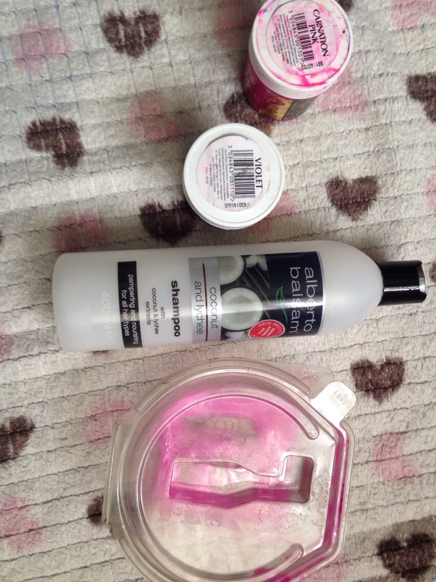 You will need- 1. A container which you don't mind getting stained or ruined 2. White conditioner (cheap is probably the best) edit- I accidentally bought shampoo so I'll have to use my mums conditioner oops  3. Hair dye (I use a high pigment hair dye so that I can get more use out of it!