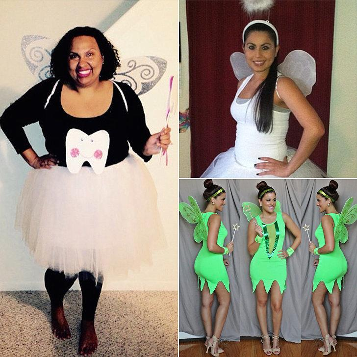 Costumes: Tooth fairy, angel, Tinker Bell  Wings Glittered Wings ($1) http://www.dollartree.com/catalog/product.jsp?productId=341285&green=2ddcd000-618d-336ca5-af22-0974d064892c