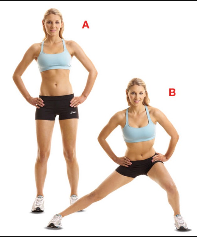 1. Stand with feet together 2. Take a large step with your right foot to the right side and lunge 3. Make sure your kneedoes not come past your toes and keep other leg asstraightas possible 4. Return to starting position. When done with desired reps switch sides