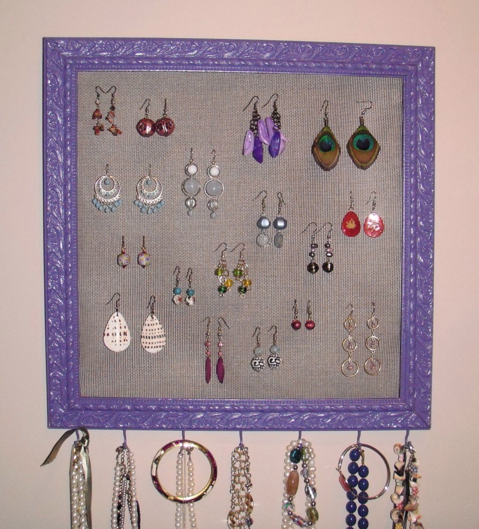 Is your jewelry stuffed in your jewelry box all tangled up? Buy a cool picture frame from the thrift store and spray paint it. Put some chicken wire, fabric, or mesh in the frame and start hanging your jewelry on it. Use pins and hooks to attack necklaces and bracelets