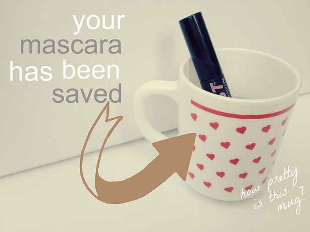 How to fix dried out mascara: soak it in a mug of boiling water for five minutes