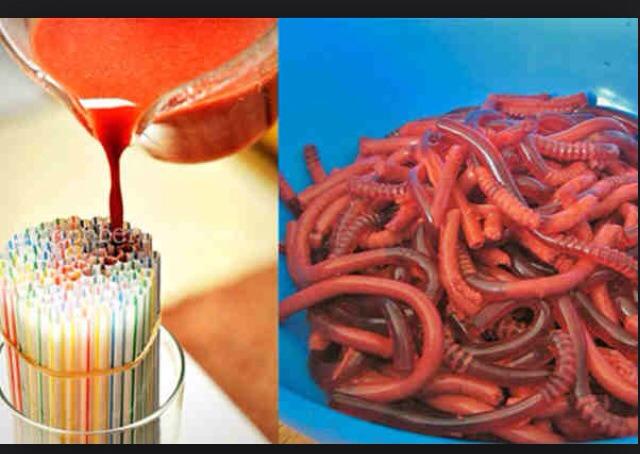 Pour jello into straws & let cool