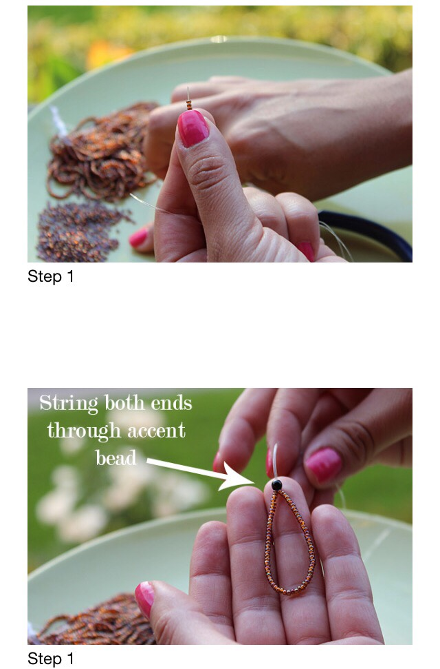 Start by cutting a long piece of elastic; at least 26 inches. String seed beads onto the cord until you have a length of about 3 inches strung with beads for the toe-ring. When the toe is the right size, thread both ends of the cord through an accent bead to act as a stopper for the toe ring.