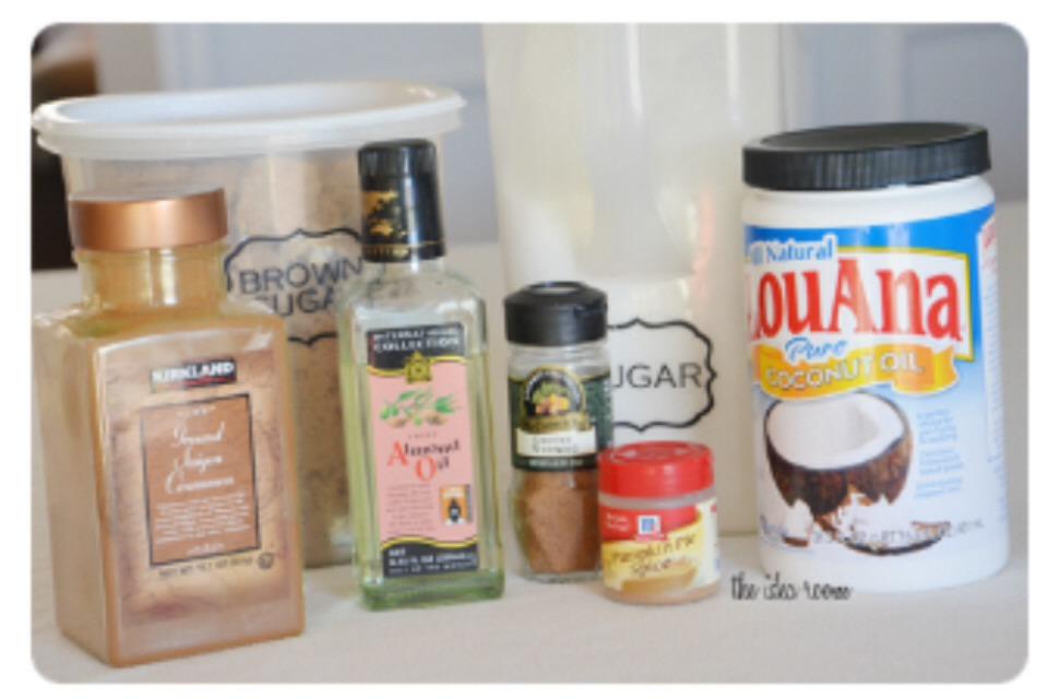 Ingredients~ *2 cups brown sugar *1/2 cup white sugar (or raw sugar) *1 teaspoon pumpkin pie spice *1/2 teaspoon nutmeg *1/3 cup almond oil OR coconut oil (Add more if needed) ☺️