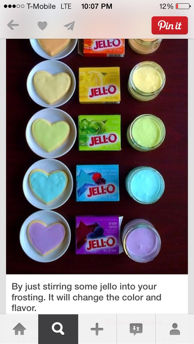 Just put some jello into the frosting and it will change flavor & color.