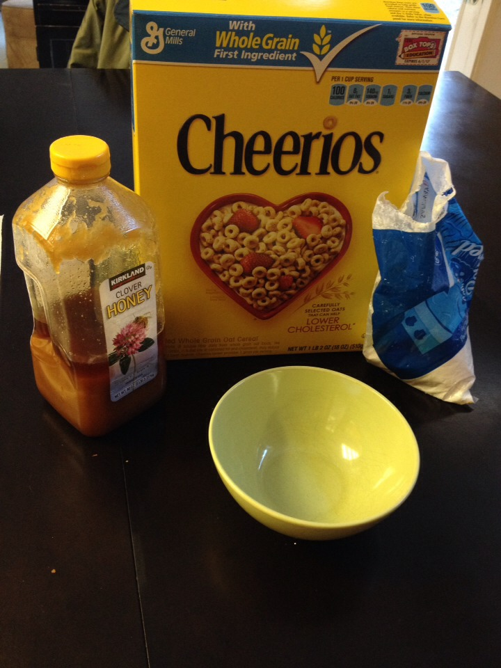 You will need Cheerios, powdered sugar, honey, and of course milk