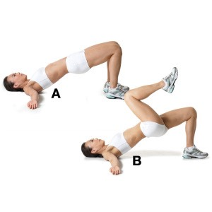 30 Glute bridge with marching (each leg)