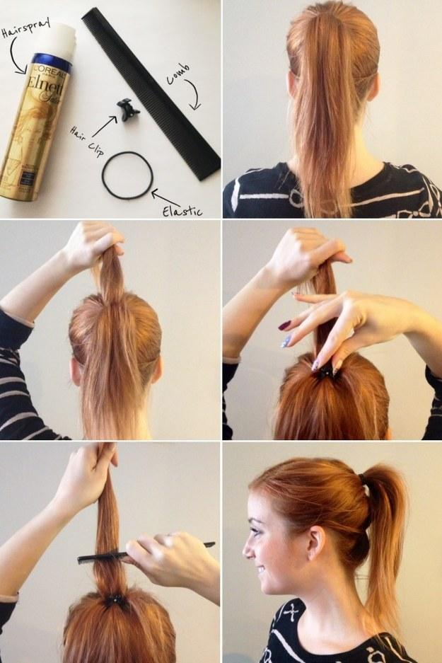 9. Get some much needed ponytail height with a little butterfly hair clip.
