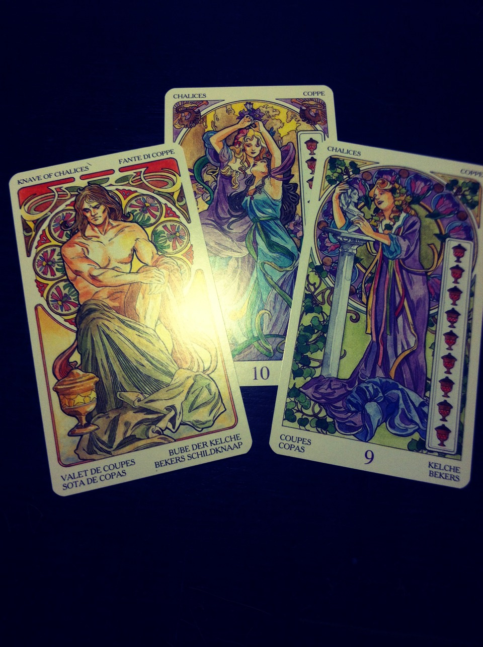 Chalices (or cups), connect to love and emotions. Upright cards mean good fortune in love, down facing cards mean a bad love life.