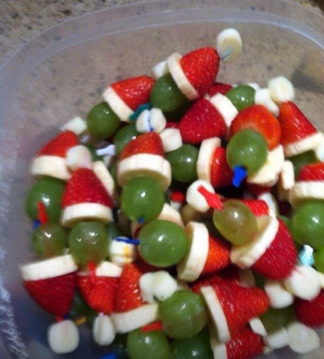 Marshmallows Strawberries Banana Green grapes