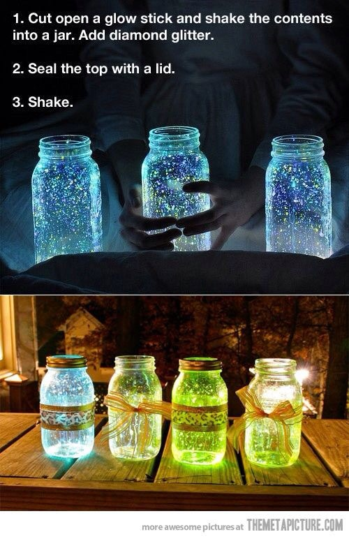 Glow Stick Jars. Click on picture for DIY