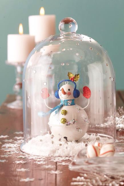 Snow globe cloche  Transform a cloche into a snow globe with a few crafts materials. Set a snowman ornament on a layer of fluffy snow. Cover with a bell-shape cloche embellished with rhinestone gems. Scatter snowflake confetti to complete the arrangement.