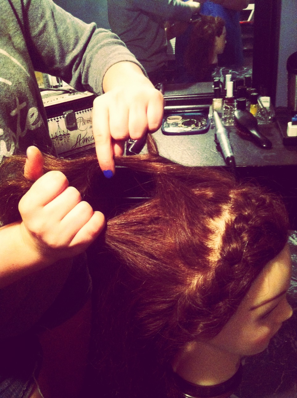 Step Six: combine the new section with the right section of the hair.   Do the same to the right side