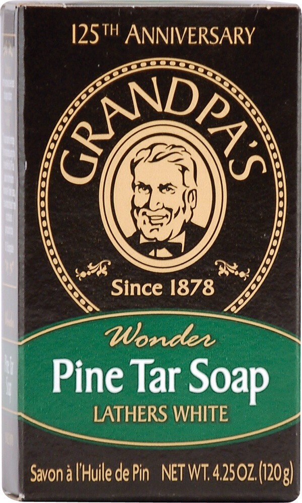 Pine tar helps acne and dandruff - pine tar can be found in products like Grandpa's Brands Pine Tar soap and shampoos sold at health food stores and select drugstores.
