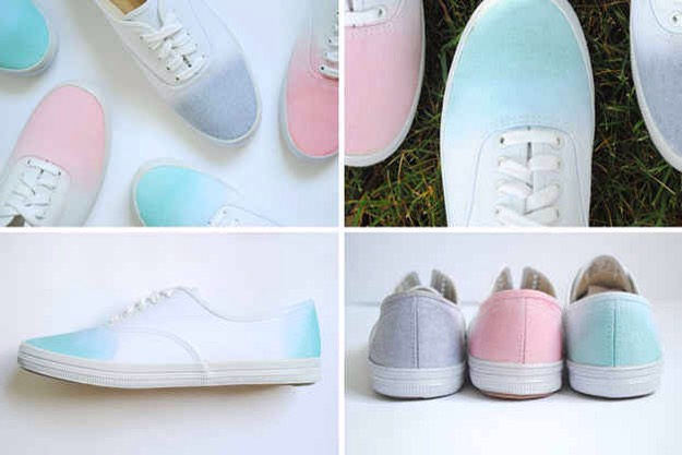 1. Dip your sneakers into fabric paint or kool-aid  for a sweet ombré look.  But first run some rubber cement on the soles to keep them clean.