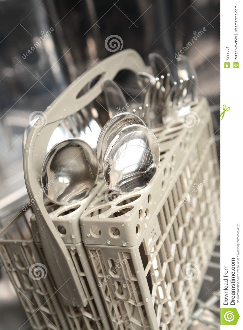 Before running dishwasher place the same utensils together in separate compartments (forks together, spoons together, Etc.)