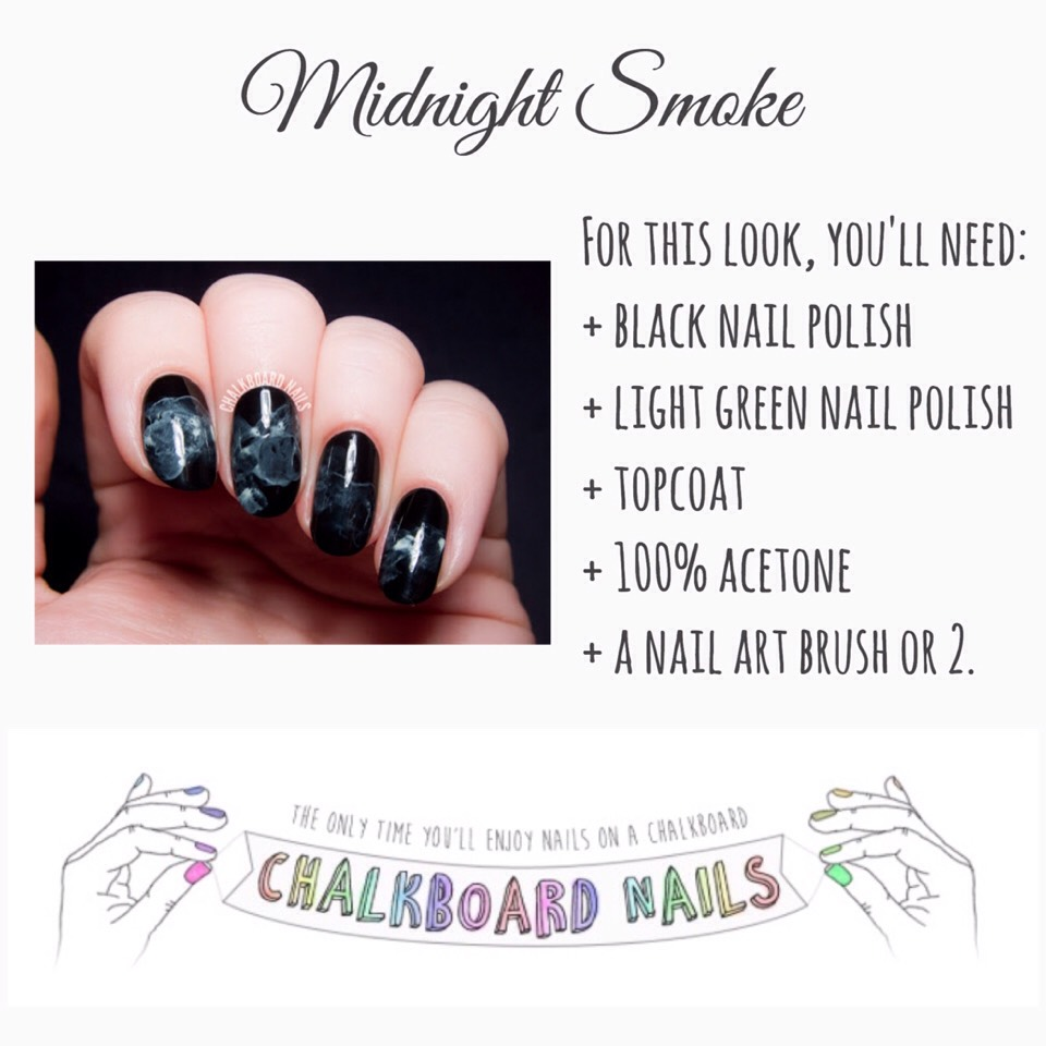 Check out the VIDEO TUTORIAL BELOW or, for written instructions, VISIT | www.chalkboardnails.com/2014/10/midnight-smoke-nail-art-tutorial.html?m=1