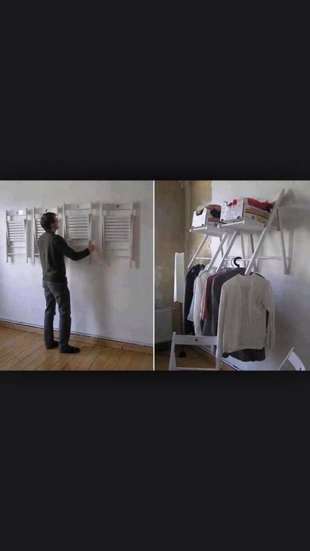 Nailing chairs to wall are a great way to store things off the floor and make the place look stylish and tidy