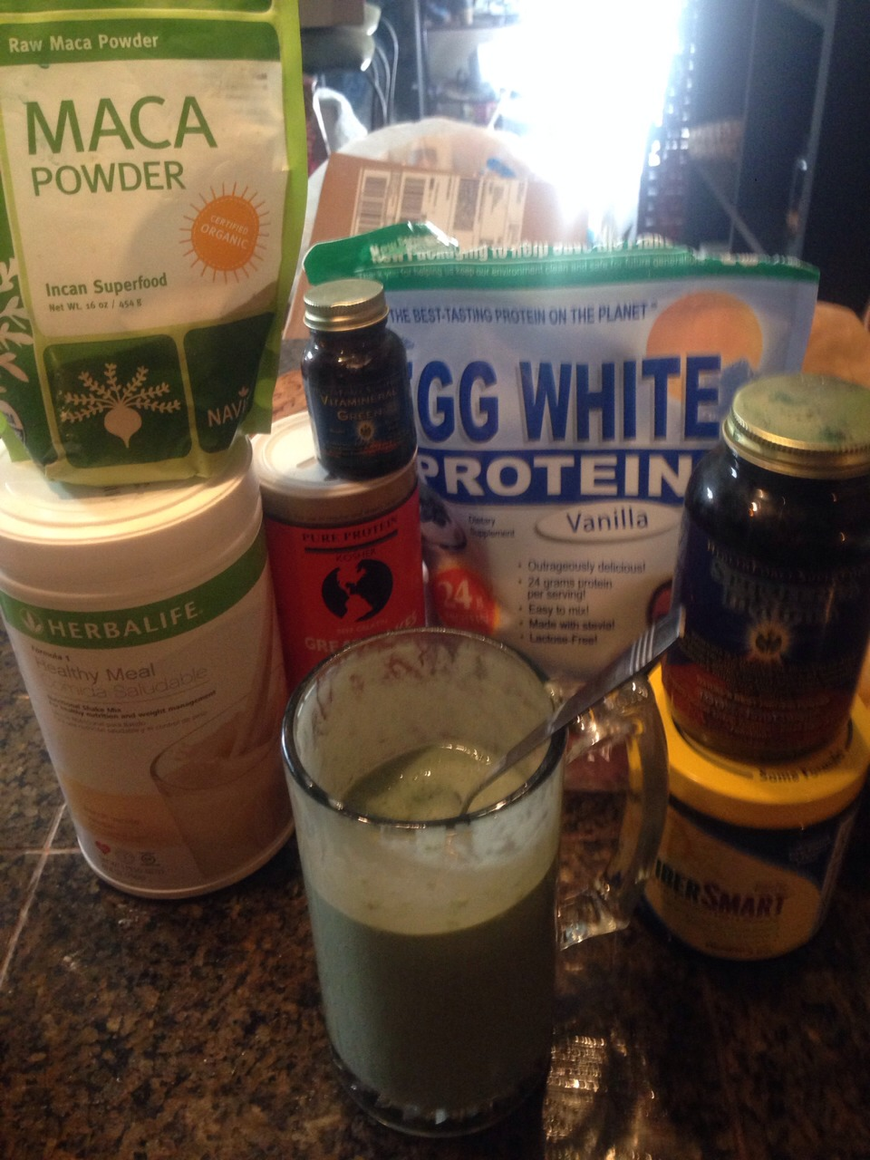 Blend periodically after adding each powders for best results , you can include just about anything to this shake, all ingredients are from whole foods or amazon I use a glass out of the freezer to keep it thick while eating  Please like if saving