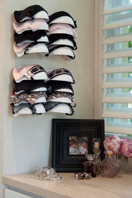 #7 – Bra rack as home decor This bra rack showcases the best of your collection and creates a girly intimate corner next to your vanity table. This bra rack is from Bra-Voe, which personally I think looks amazing. The price is a bit on the high end c$50