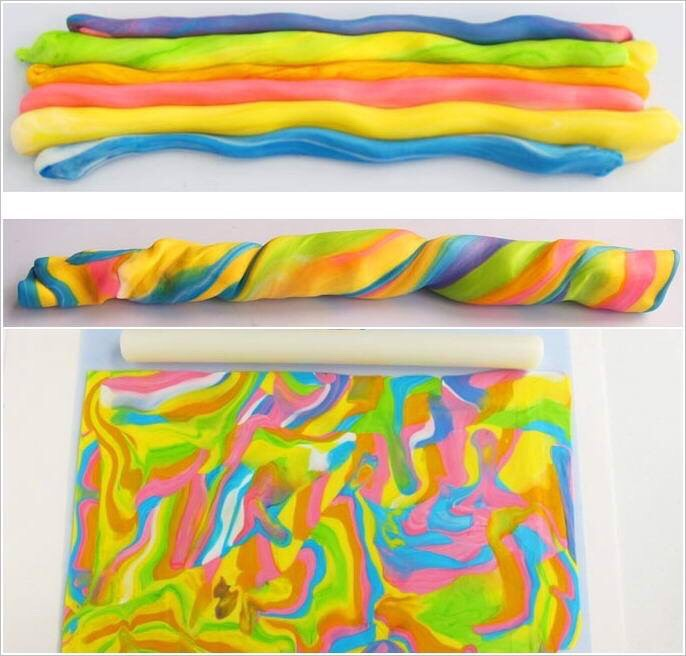 Make rainbow fondant by rolling different coloured fondants together to get the rainbow effect.