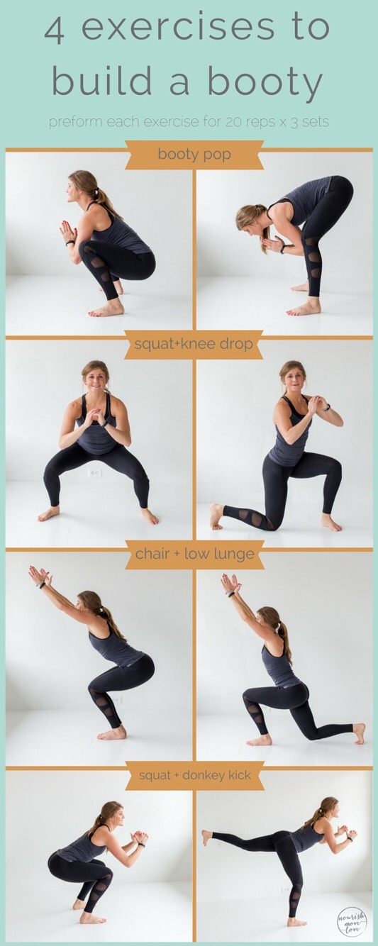 perform each exercise for 20 reps, per leg x 3 sets.  	1.	booty pop 	2.	squat + knee drop or squat + lunge 	3.	chair pose + low lunge 	4.	squat + donkey kick