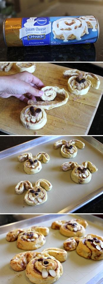 cute cinnamon bunnies made with Pillsbury cinnamon dough along with raisins for eyes and almond slivers for the teeth