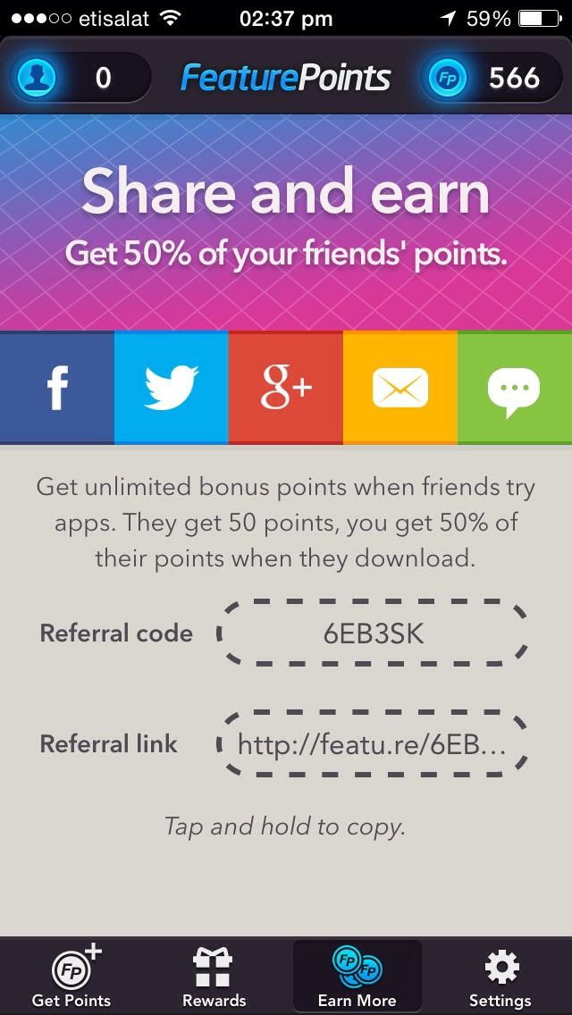 Go to featurepoints.com download the feature points app, and enter this code for 50 free points, then download the app and get free points leading to gift cards!! Simple!