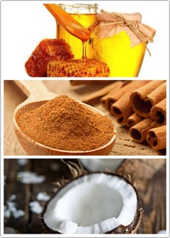 INSTRUCTIONS | Mix 1 tbspof honey + 1/2 teaspoon cinnamon + coconut flakes.  Massage gently on the skin for 2-3 minutes (and yes, you are allowed to taste some before putting it on your face). Wash with lukewarm water.