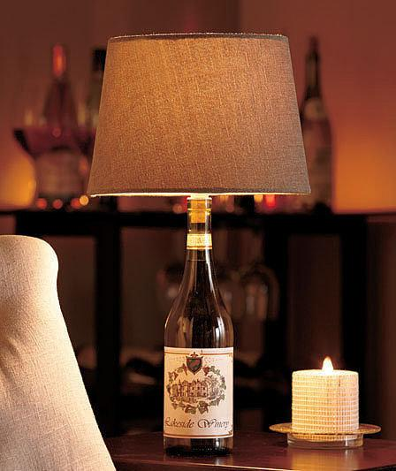 A Throwback Lamp Add vintage charm to your living room by purchasing a DIY lamp kit and transforming a wine bottle into a lighting solution.
