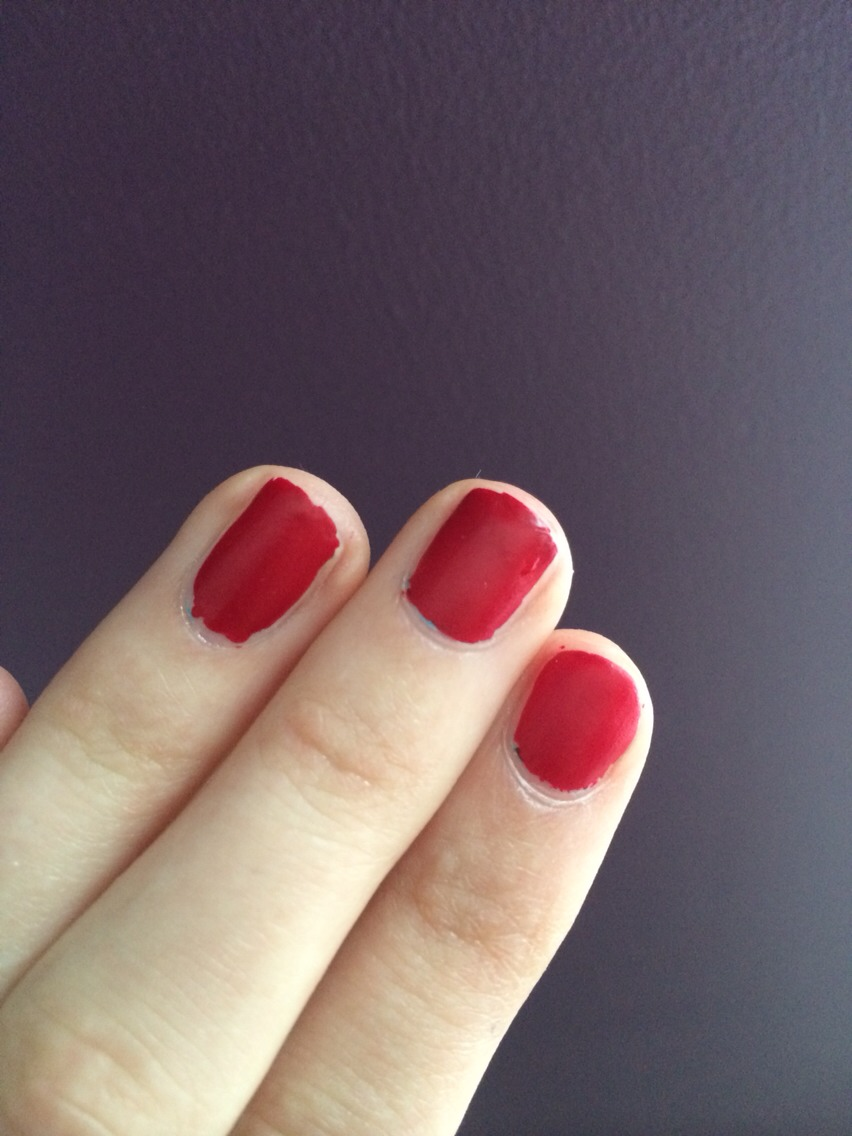 The nail varnish can be very gloppy so add more varnish if it is. Then simply paint your nails as you normally would and when it dries it will be matte.
