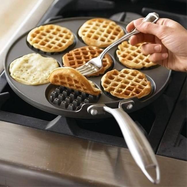 Waffle Griddle  http://www.amazon.com/Nordic-Ware-Silver-Dollar-Griddle/dp/B001TRDPVE/ref=sr_1_1?ie=UTF8&qid=1413470171&sr=8-1&keywords=Nordic+Ware+Silver+Dollar+Waffle+Griddle