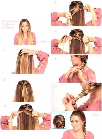 As You go on brading take more hair from each side of the head!