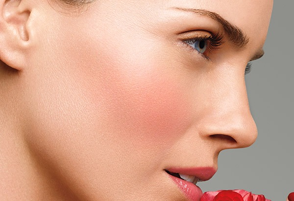 Most people should use a blush with a slight brown undertone for best results. Blushes with red undertones can actually make the face look heavier than it is. Apply your blush just under the cheekbone and sweep it from bone to the middle of each ear. Apply lightly, to avoid looking like a clown.