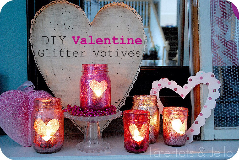 Super cute valentines idea!! Love it! Supplies needed: mason jar, spray glue, glitter (your choice in color), paper heart, and flame less candle!