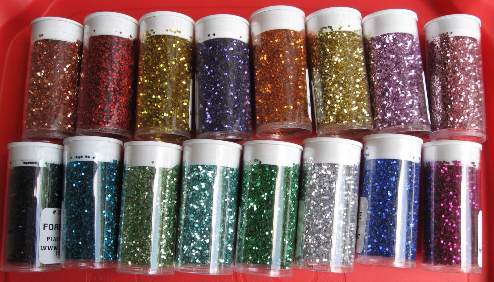 Use any glitter of you're choice and fill the outside of the jar with. Then pour the extra out and let dry.