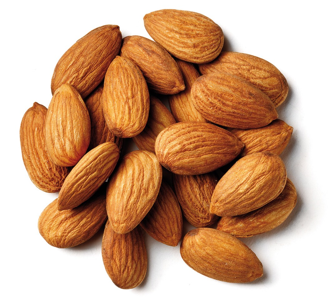 8)- Almonds are high in fibre, magnesium, calcium and usable protein which helps stabilise blood sugar and helps to remove impurities from the bowel.