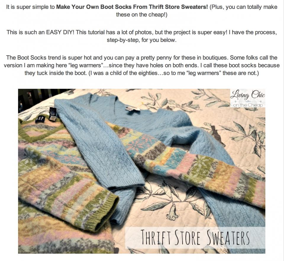 bff42220b391 DIY Boot Socks Made From Old Thrift Store Sweaters! by LeaIsabella ...