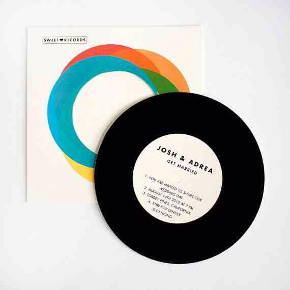 """24. The 7""""  Available for $6.50 per set from ElloThere. Or re-package actual vintage 45s, which you can sometimes find at record stores, thrift stores, and garage sales for very cheap.  etsy.com"""