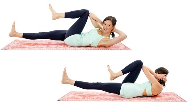 2. Bicycle Crunches: Not only does this move target your abs, but it also gets your hip flexors and glutes! Remember to engage your core instead of pulling with your neck or back.