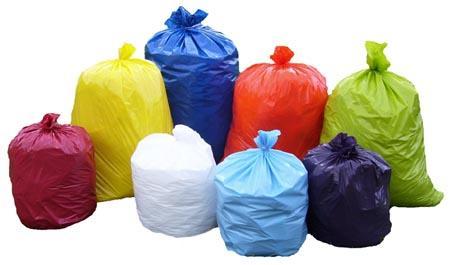 Colorful trash bags
